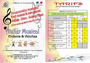 Atelier musical, les tarifs